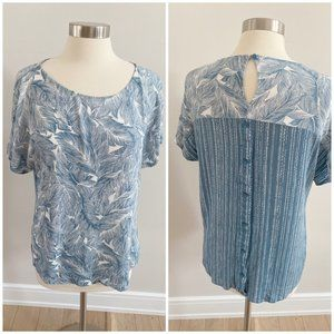 Straccato Blue Tropical Leaf Blouse Button Back M